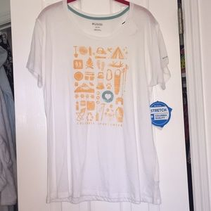 Columbia white camping graphic tee